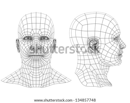 human head 3d wireframe front and side view - stock photo