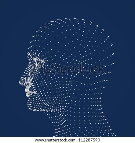 Human head dots model - stock photo