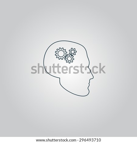 Human head gear hybrid knowledge. Flat web icon, sign or button isolated on grey background. Collection modern trend concept design style  illustration symbol