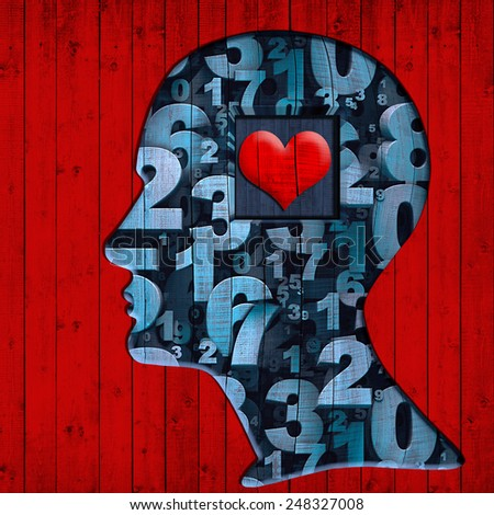 human head of wood with heart,numbers and red wood background - stock photo