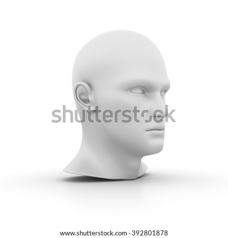 Human Head on White Background - High Quality 3D Render   - stock photo