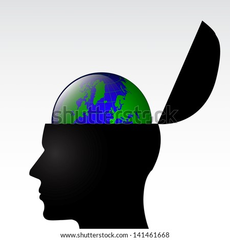 human head open with world globe inside / illustration - stock photo