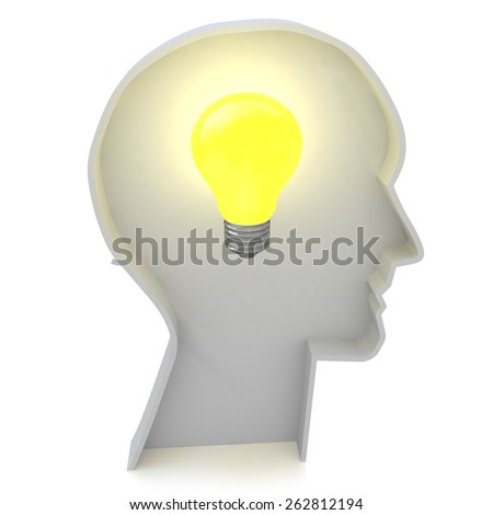 Human head profile with a light bulb - Creative ideas light bulb concept  - stock photo