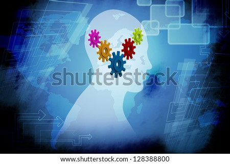 Human head profile with gears - stock photo