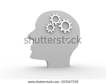 Human head profile with gears - this is 3d render - stock photo