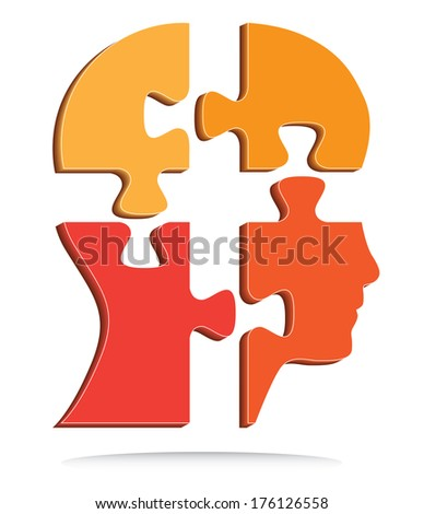 Human head puzzle pieces design, raster version. - stock photo