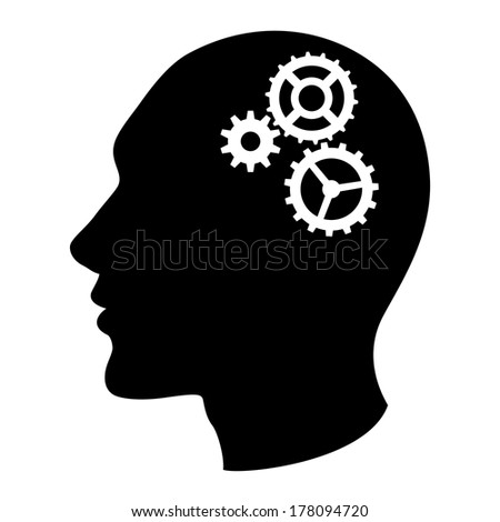 Human head silhouette with set of gears as a brain - idea and innovation concept.  Raster.