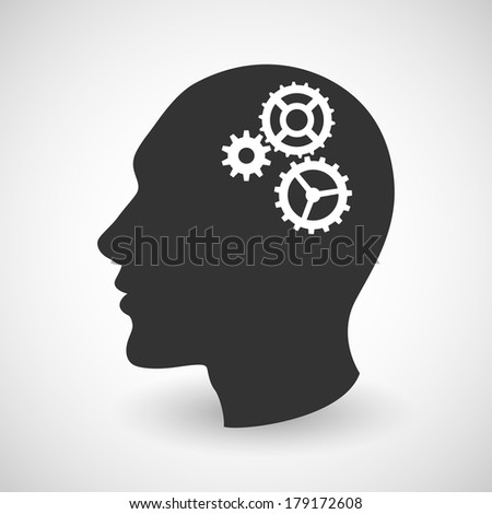 Human head silhouette with set of gears as a brain - idea and innovation concept. Raster. - stock photo