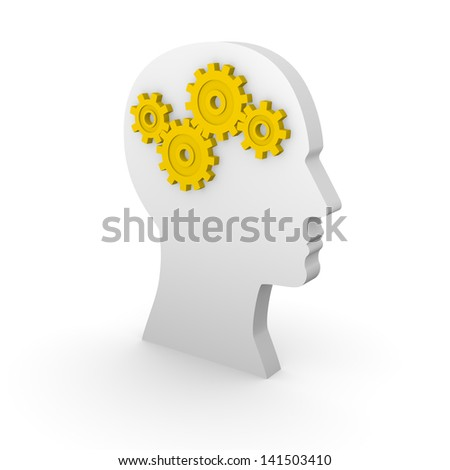 Human head silhouette with yellow gears. 3d rendering.