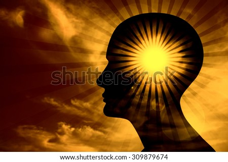 human head, sky ,sun,clouds,rays and blur background - stock photo