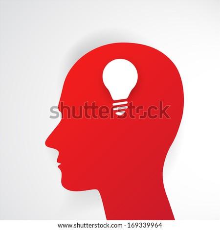 Human head thinking a new idea. Creative Idea. Raster version - stock photo