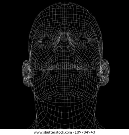 Human head. Wire frame render on black background