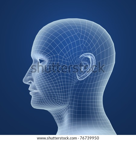 Human head wire model - stock photo