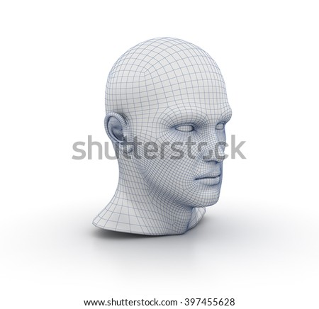Human Head Wireframe on White Background - High Quality 3D Render  - stock photo