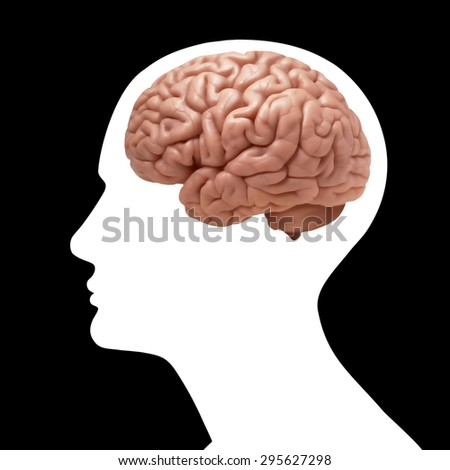 human head with brain and black background