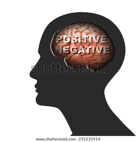 human head with brain text and white background - stock photo
