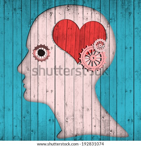 human head with gears  heart and  light blue wood background - stock photo