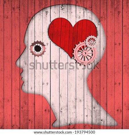 human head with gears  heart and pink wood background - stock photo
