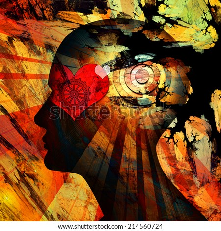 human head with gears heart and sun background - stock photo