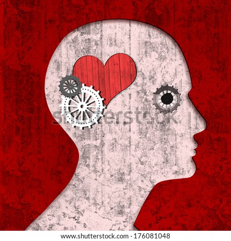 human head with gears, heart and wall background - stock photo