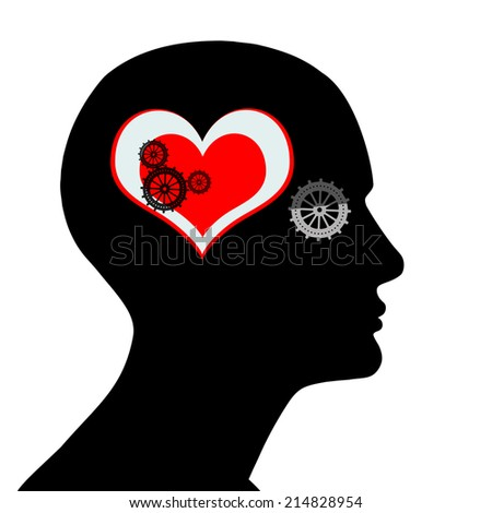 human head with  gears heart and white background - stock photo