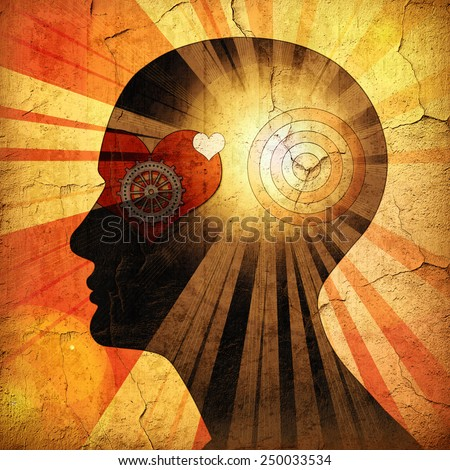 human head with gears, heart, sun and wall background  - stock photo