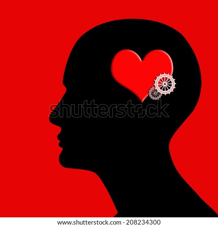 human head with gears red heart and red background - stock photo