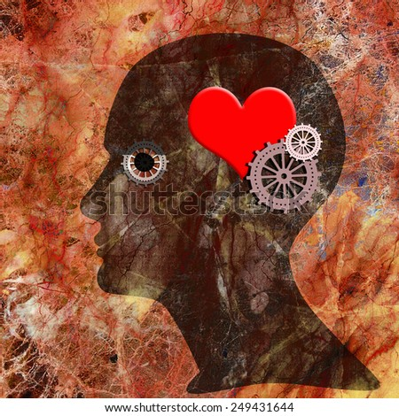 human head with gears red heart and wall background - stock photo