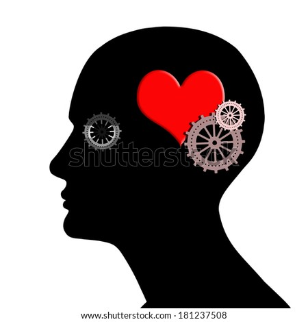 human head with gears red heart and white background - stock photo