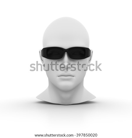 Human Head with Glasses on White Background - High Quality 3D Render   - stock photo