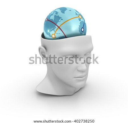 Human Head with Globe World on White Background - High Quality 3D Render   - stock photo