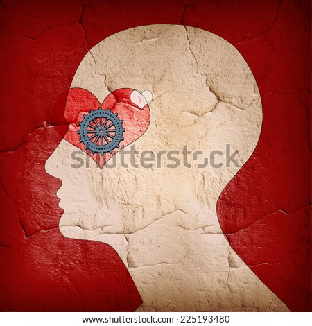 human head with heart and wall   background - stock photo