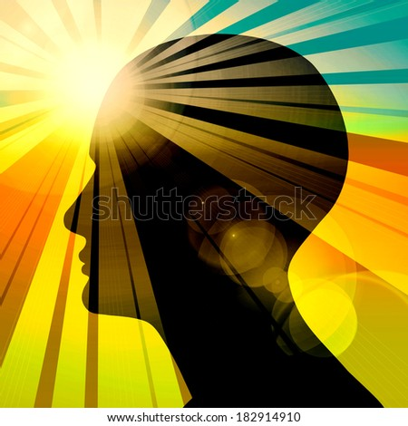 human head with light and sun background - stock photo