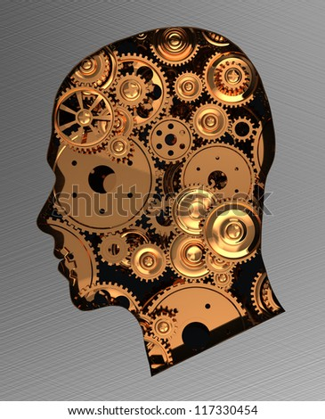 Human head with metal gears isolated on grey background