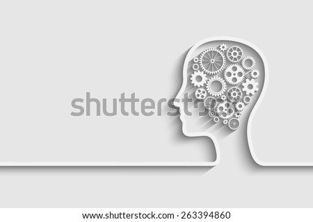 Human head  with set of gears as a symbol work of brain. background for your design - stock photo