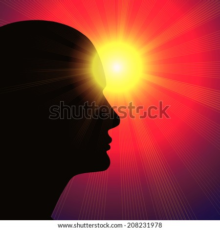 human head with sun sky and rays background