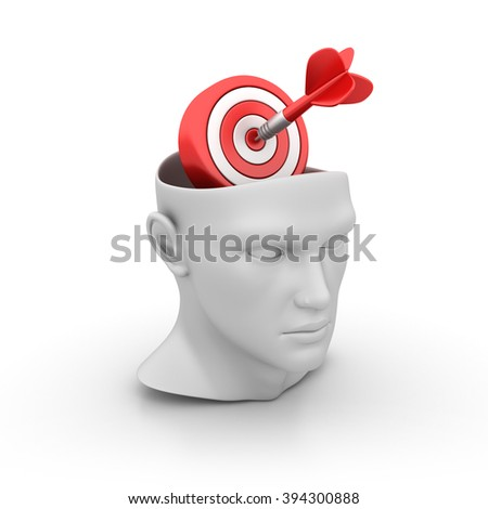 Human Head with Target on White Background - High Quality 3D Render   - stock photo