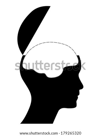 Human head with white brain, creative illustration.