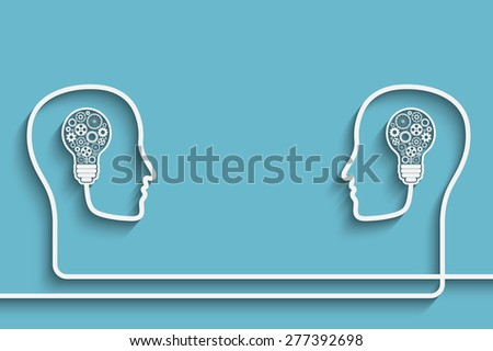 Human heads creating a new idea background  for your design - stock photo
