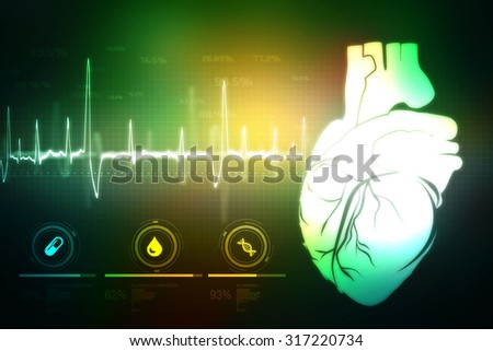 Human Heart - Anatomy of Human Heart - stock photo
