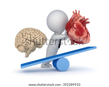 Human heart and brain on a scales. - stock photo