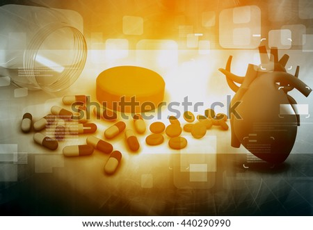 Human heart and modem medicines. Medical background  - stock photo