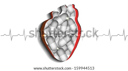 Human heart and pills. Cardiovascular disease treatment concept.