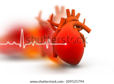 Human heart on abstract dark background  - stock photo