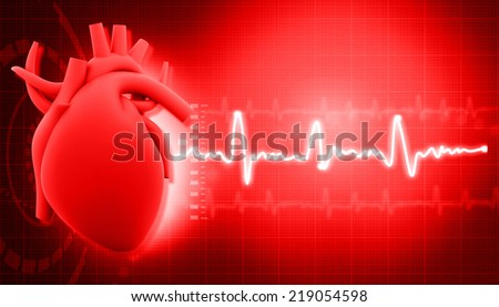 Human heart on science  background