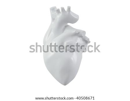 Human heart - white porcelain - stock photo