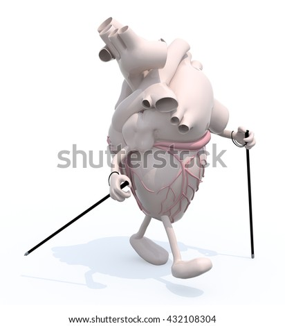 human heart with arms and legs,that's walking with sticks, 3d illustration