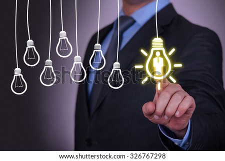 Human Idea Bulb Concepts on Screen - stock photo