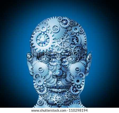 Human ingenuity and business innovation concept with a front view face made of cogs and gears to shape the head as a business symbol of complexity working together to achieve profitable solutions. - stock photo