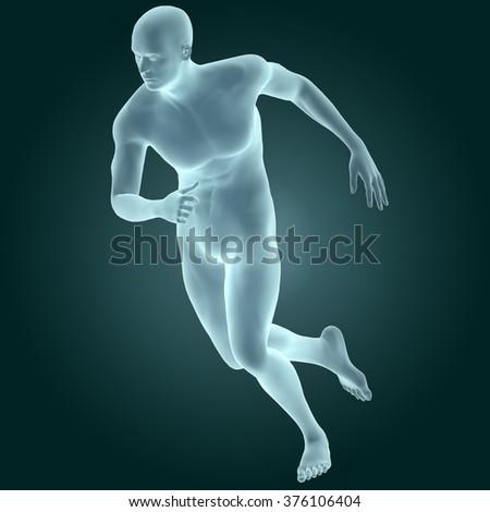Human Male Body (Running) - stock photo